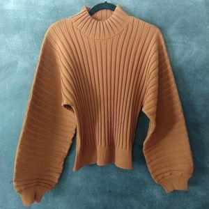 FREE PEOPLE | Mad Chill Rust Ribbed Turtleneck